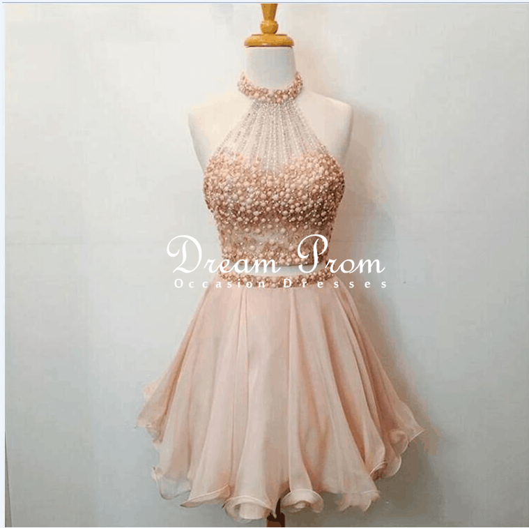 d0079025d4a Cute 2 Pieces Champagne Pink Beaded Short Prom Dress