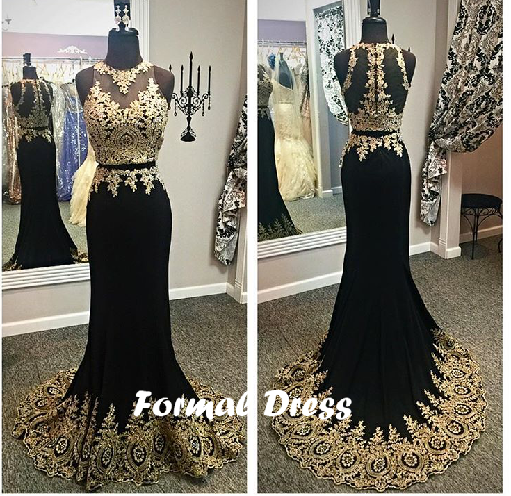 Black Two Pieces Mermaid Gold Lace Long Prom Dressformal Dresses On