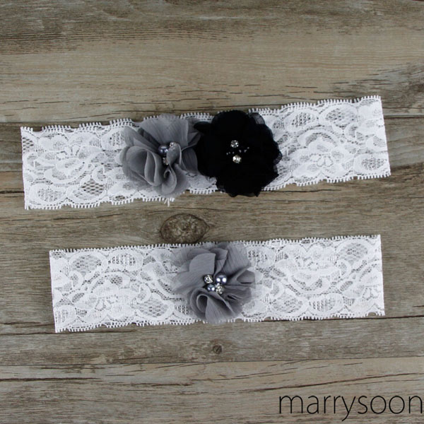 27a20adc0c8 Dark gray and black lace wedding garter set