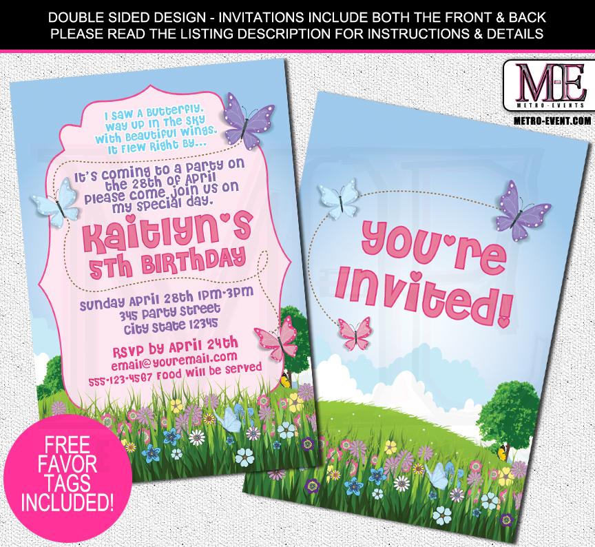 Butterfly Birthday Invitations On Storenvy
