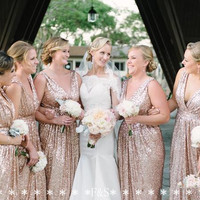 0cc507acc24 ... Sparkly Rose Gold Cheap 2015 Mermaid Bridesmaid Dresses 2016 Short  Sleeve Sequins Backless Long Beach Wedding