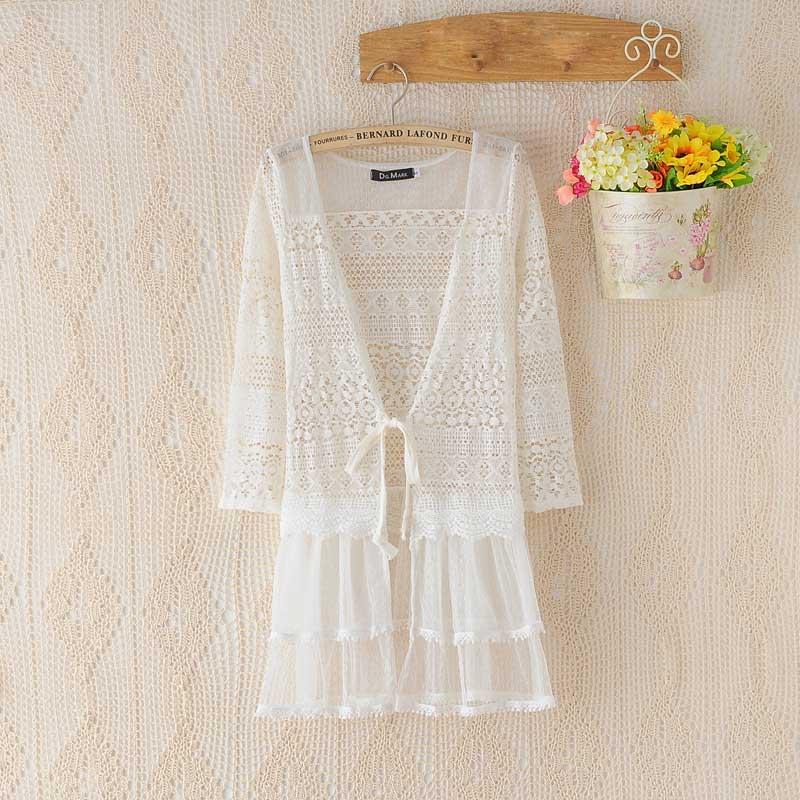 S M L Off White Lace Peignoir Sheer Mesh Sweater Robe Cardigan Gyaru