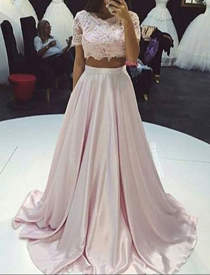 79798f8fc99 Lace Bodice Light Pink Satin 2 Pieces Prom Dresses with Short Sleeve ...