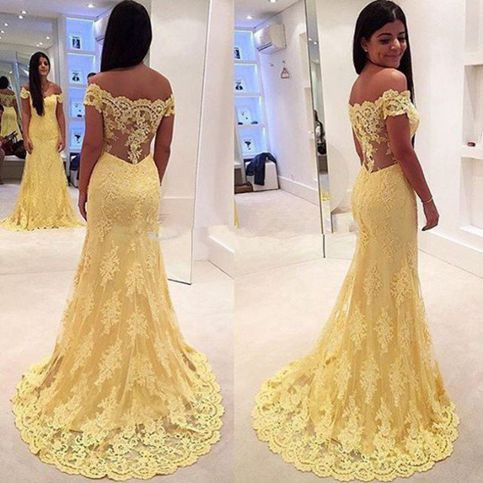 Yellow prom dress,A-line Lace long prom