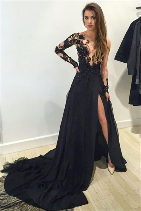 19c2ea5fe6 One-shoulder Tee applique lace beading chaplel train long prom dress,Prom  dress 2017