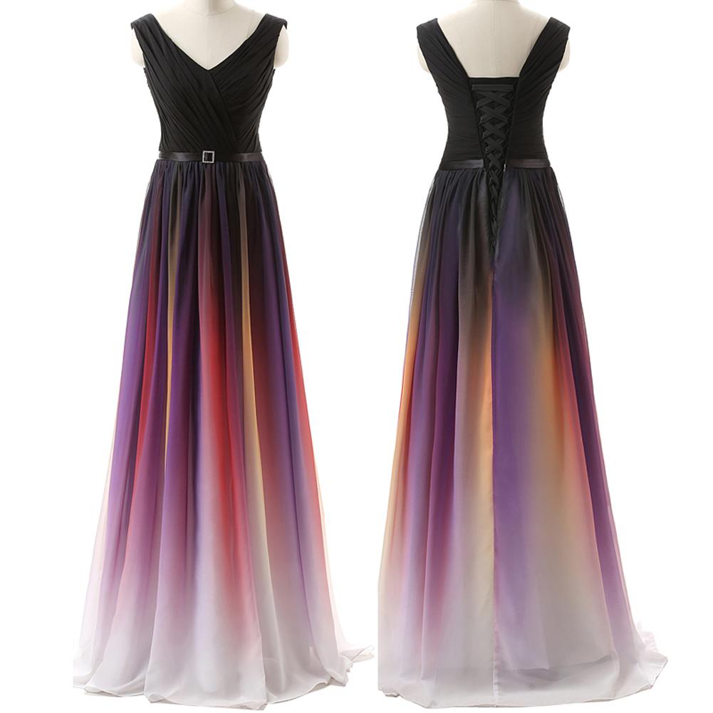 Ombre Custom Made Charming Prom Dress,Formal Dresses,Chiffon Evening ...