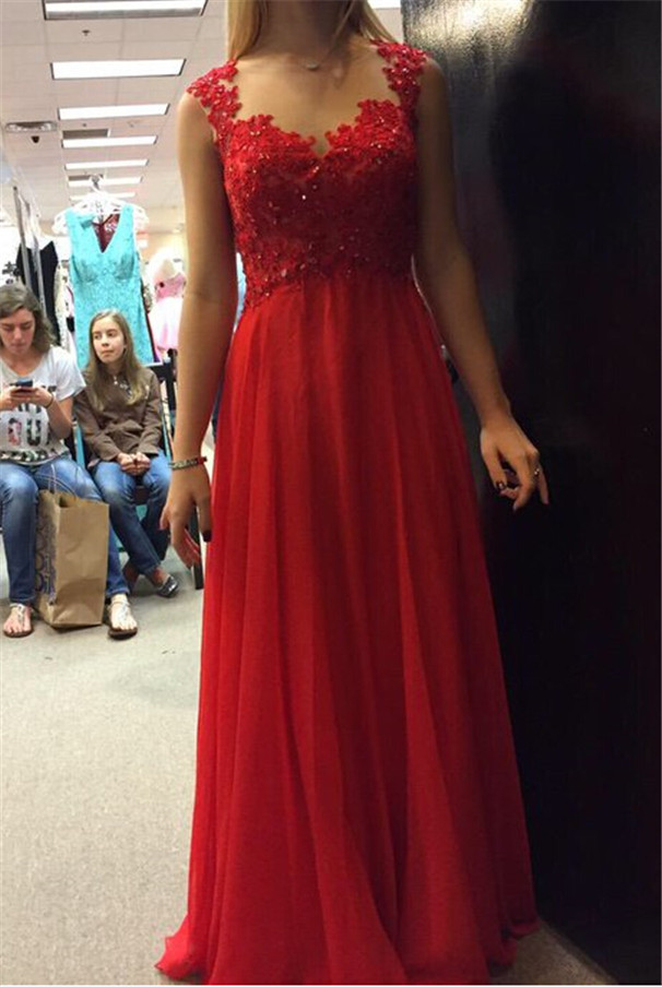 7b0e69210a1c Red Long Beaded Lace Top Square Neck Chiffon Dress for Prom