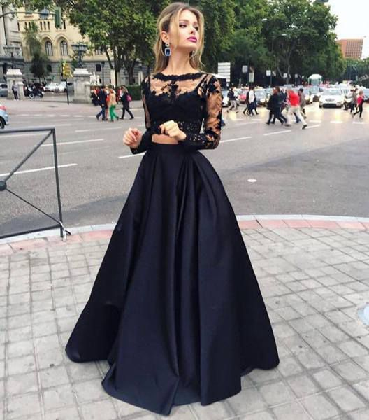 Black two pieces long sleeve prom dress,A-line lace two pieces long ...