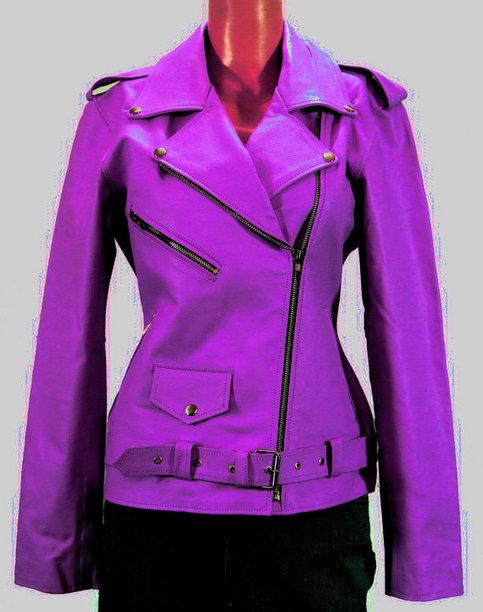 Women Purple Colr Biker Leather Jacket On Storenvy