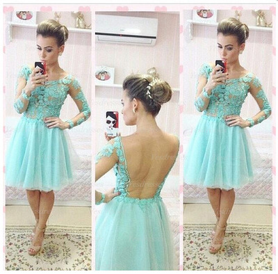 Long Sleeve Homecoming Dress Backless Prom Dress Lace Prom