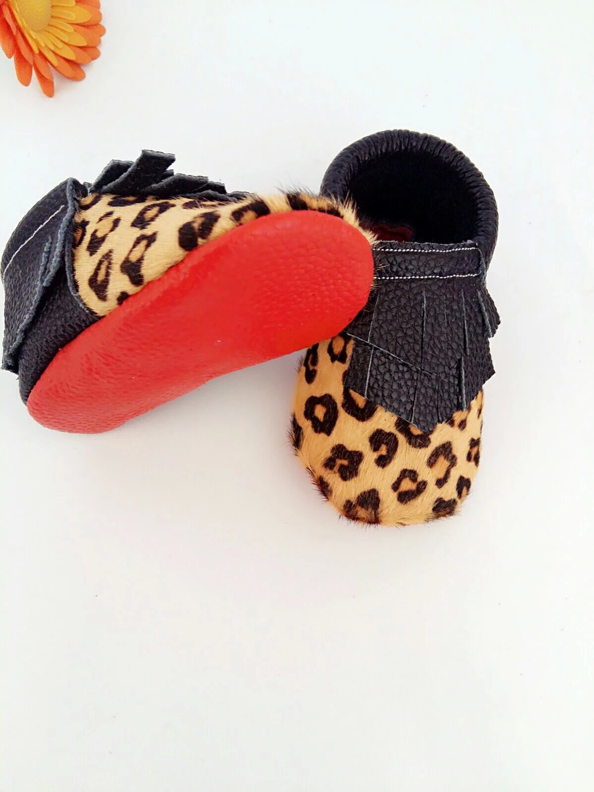 8794f755f22e Leopard print red sole baby moccasins handmade double tassel ...