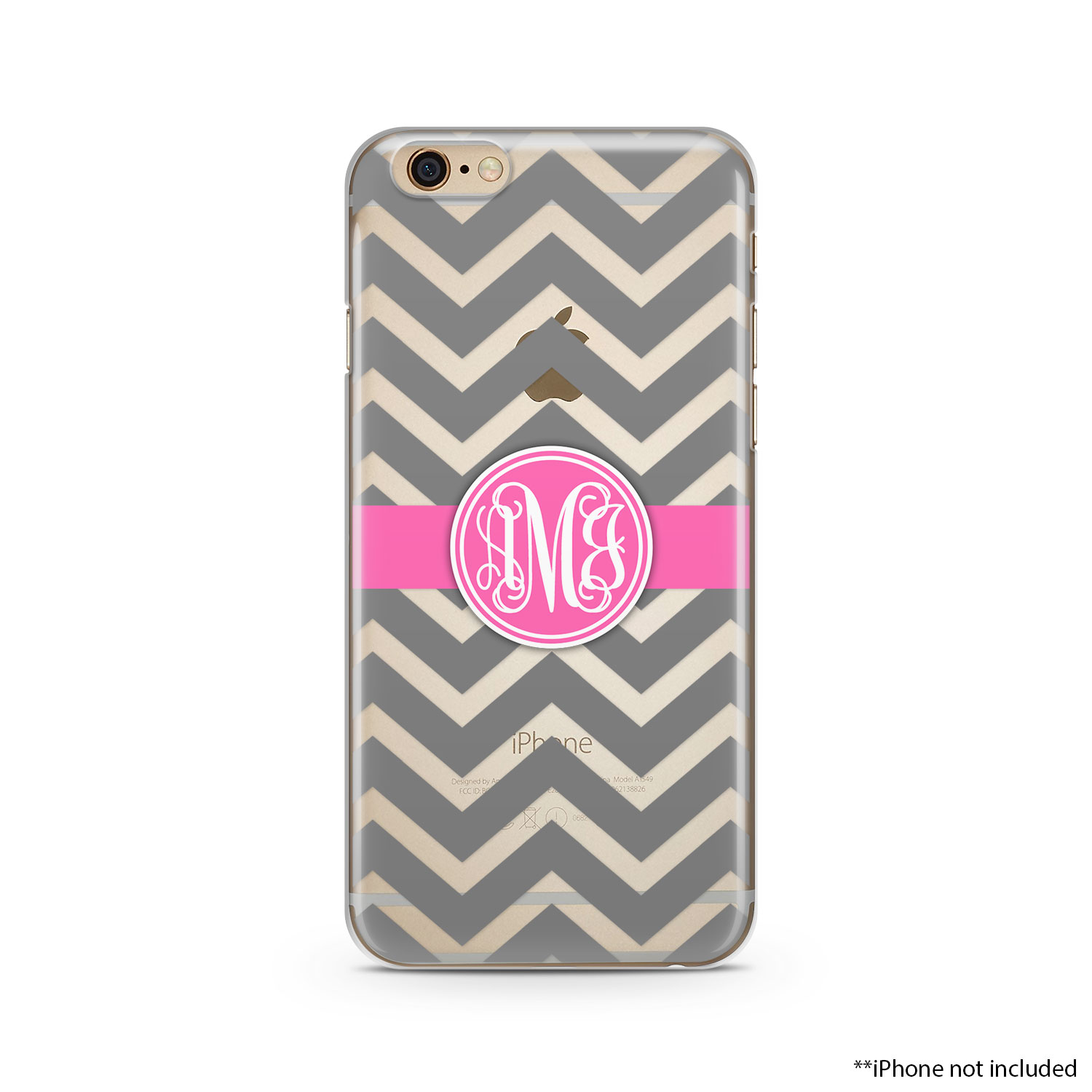 on sale cb914 e469d Gray Chevron pink stripes white Monogram Clear iPhone Case, iPhone 6 plus  clear case Transparent iPhone Case from Lili Designers