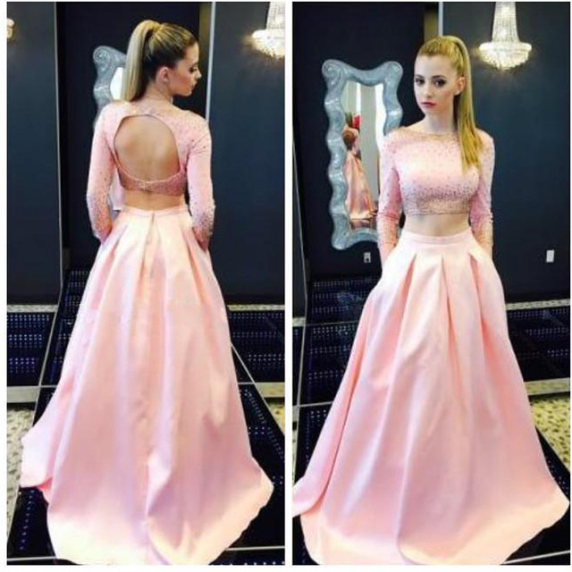 e4fde44b32315 2 Piece Prom Dress Pink Backless Evening Dresses Sexy Long Elegant Prom  Dresses Robe De Soiree Formal Gowns,PD160356 from MakerDress