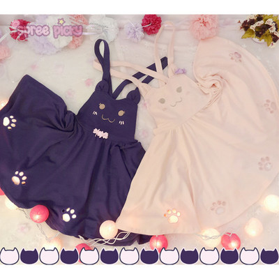 0e33064ffba564 Pink/violet black kawaii candy cat cut out meow suspender dress sp165481