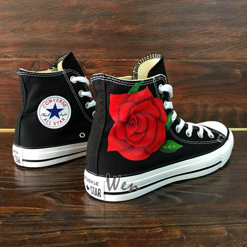 Flower Red Rose Original Design Converse All Star Custom Design Hand ... b216d66a8