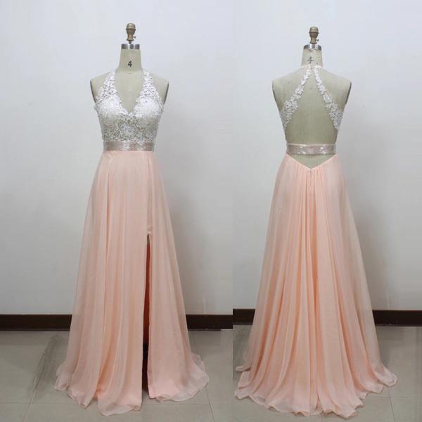 Charming V Neck Backless Ivory Lace Prom Dresses Front Slit Long