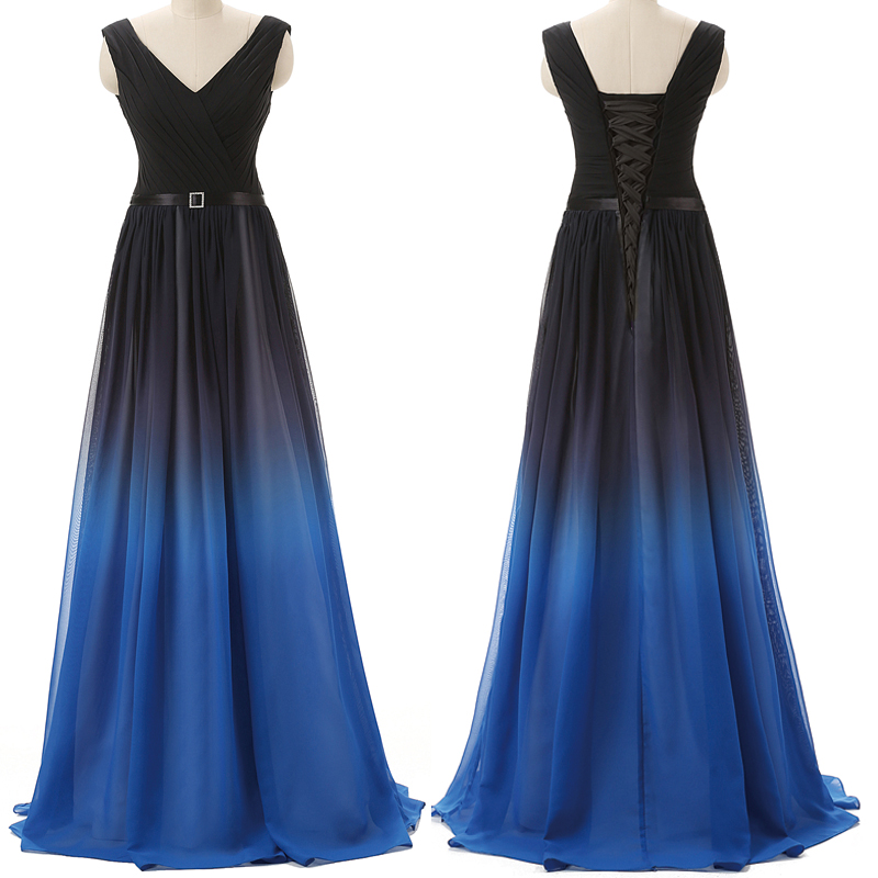 567cd4c6e09 Black Navy Blue Ombre Prom Dresses With V Neck Long Evening Dress ...