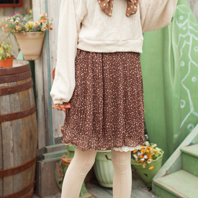 223dbb013c6 Coffee floral chiffon pleated skirt   knitted bow sweater free shipping