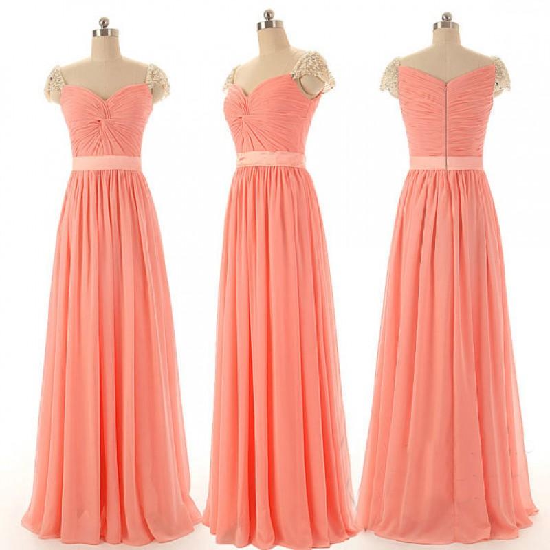 cap sleeve bridesmaid dresses, peach bridesmaid dresses, chiffon ...