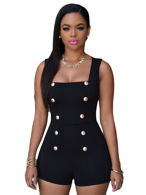 c11806309a0 Stunning Black Gold Buttons Romper Jumpsuit FREE DELIVERY