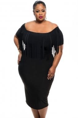 Black Fringe Plus Size Dress sold by FashionCandyCo