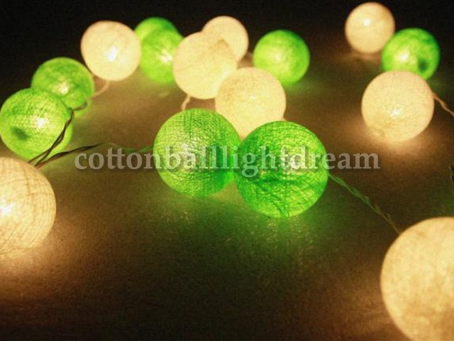 20 Lime Green Cotton Balls String Lights For Party Wedding