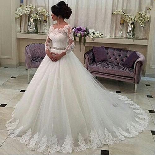 White wedding dress,lace wedding dress,long