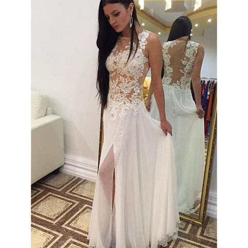 White Floral Lace Prom Dress with Front Split, Sexy