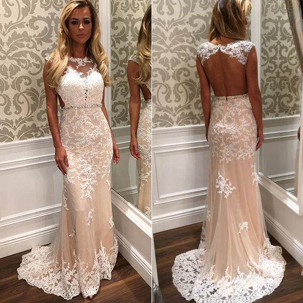 4cfedf2709 Cap sleeve prom dress with beaded belt white open back wedding dress long  lace prom dresses