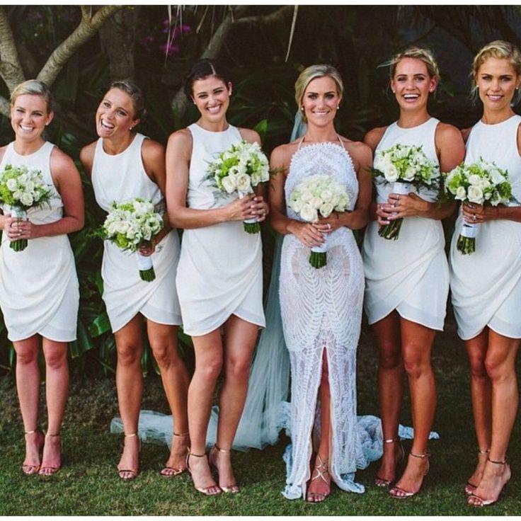Online Bridesmaid Dresses | White Short Chiffon Cheap Bridesmaid Dress Discount Online