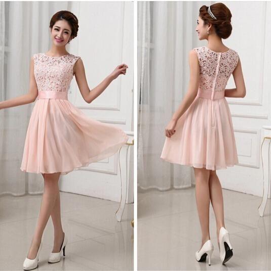 a7c9e0d0a130 short pink cheap lace top chiffon bridesmaid dress,beauty dresses for ...