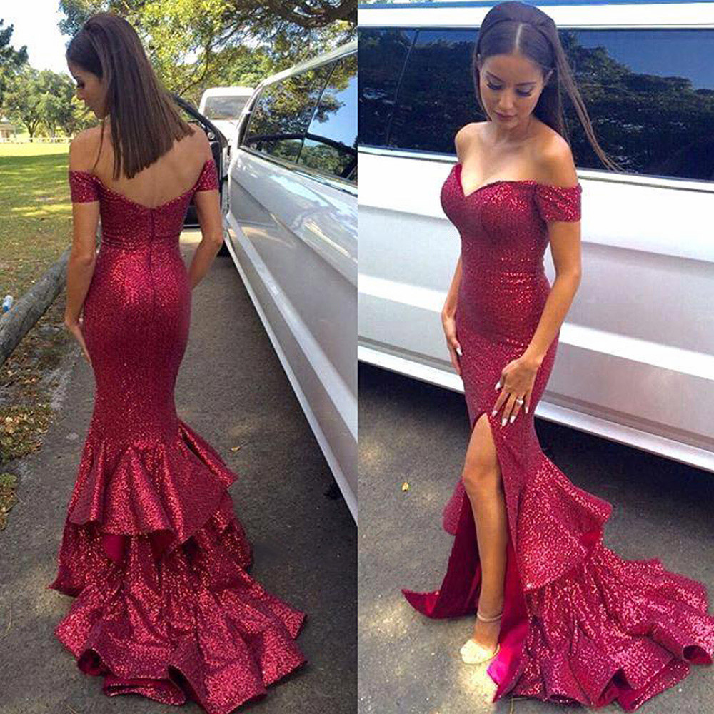 Sequined Red Prom Dress with Front Split, Off-the-shoulder Prom ...