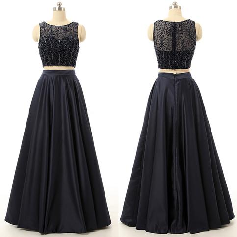 Sleeveless Illusion Beaded Prom Dresses Long Princess