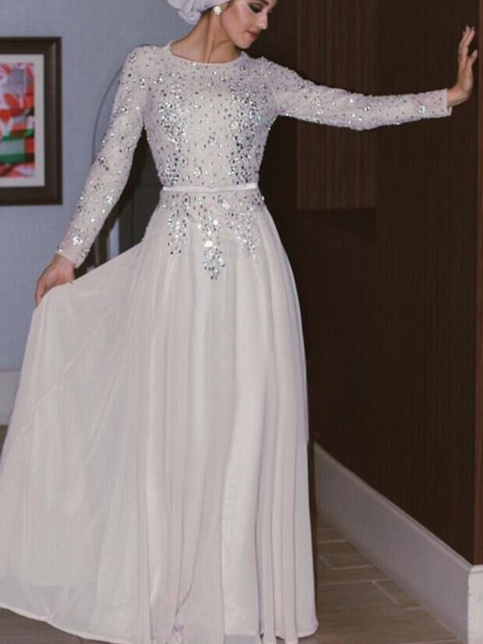 Prom Dresses With Full Sleeve Light Grey A Line Scoop