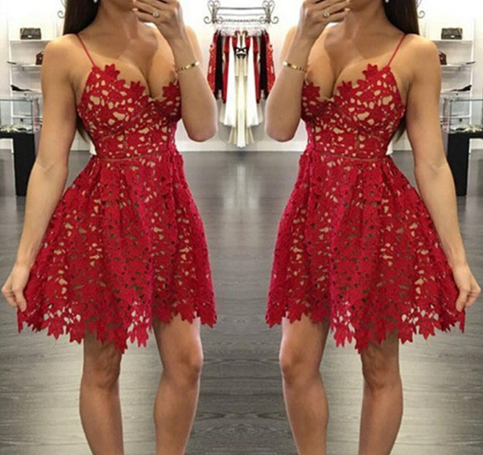 Little Cute Pretty Red Lace Prom Dressesshort Prom Dress