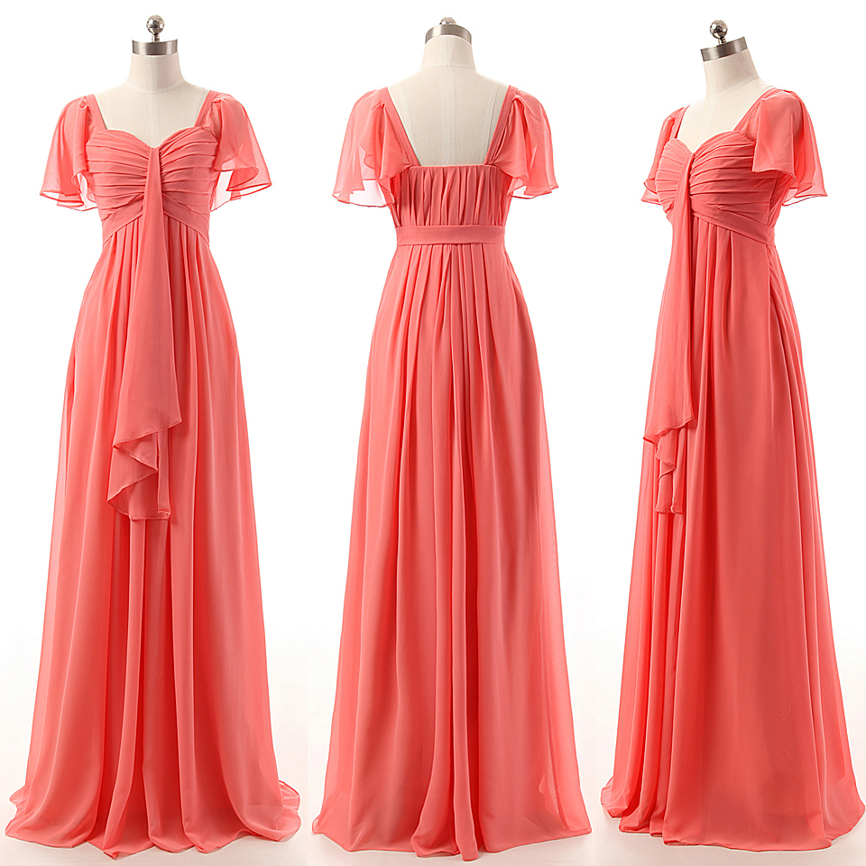 A-line Bridesmaid Dresses with Ruffles, Sweetheart Watermelon ...