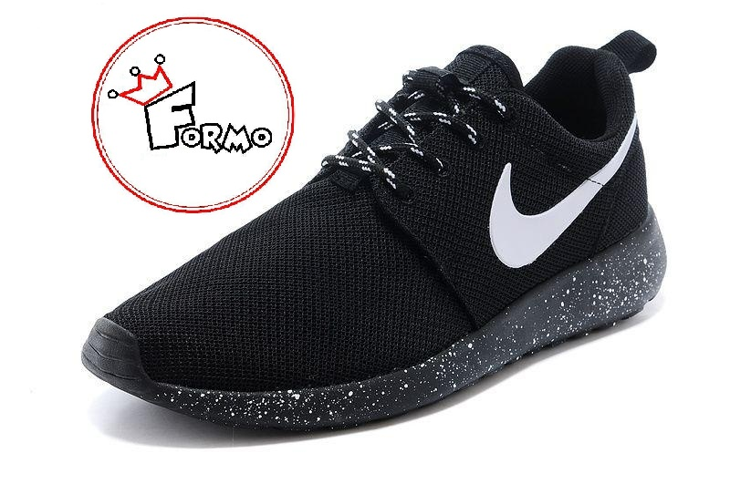 1ff03000f42 Custom Nike Roshe Run Oreo athletic running shoes White Speckled on ...