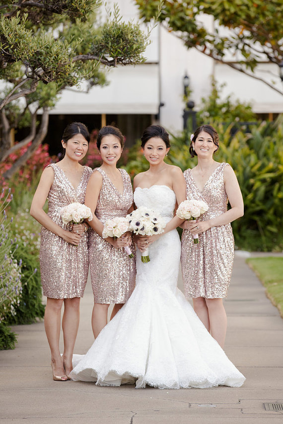 dbbc8cafa62 Short Rose Gold Bridesmaid Dresses