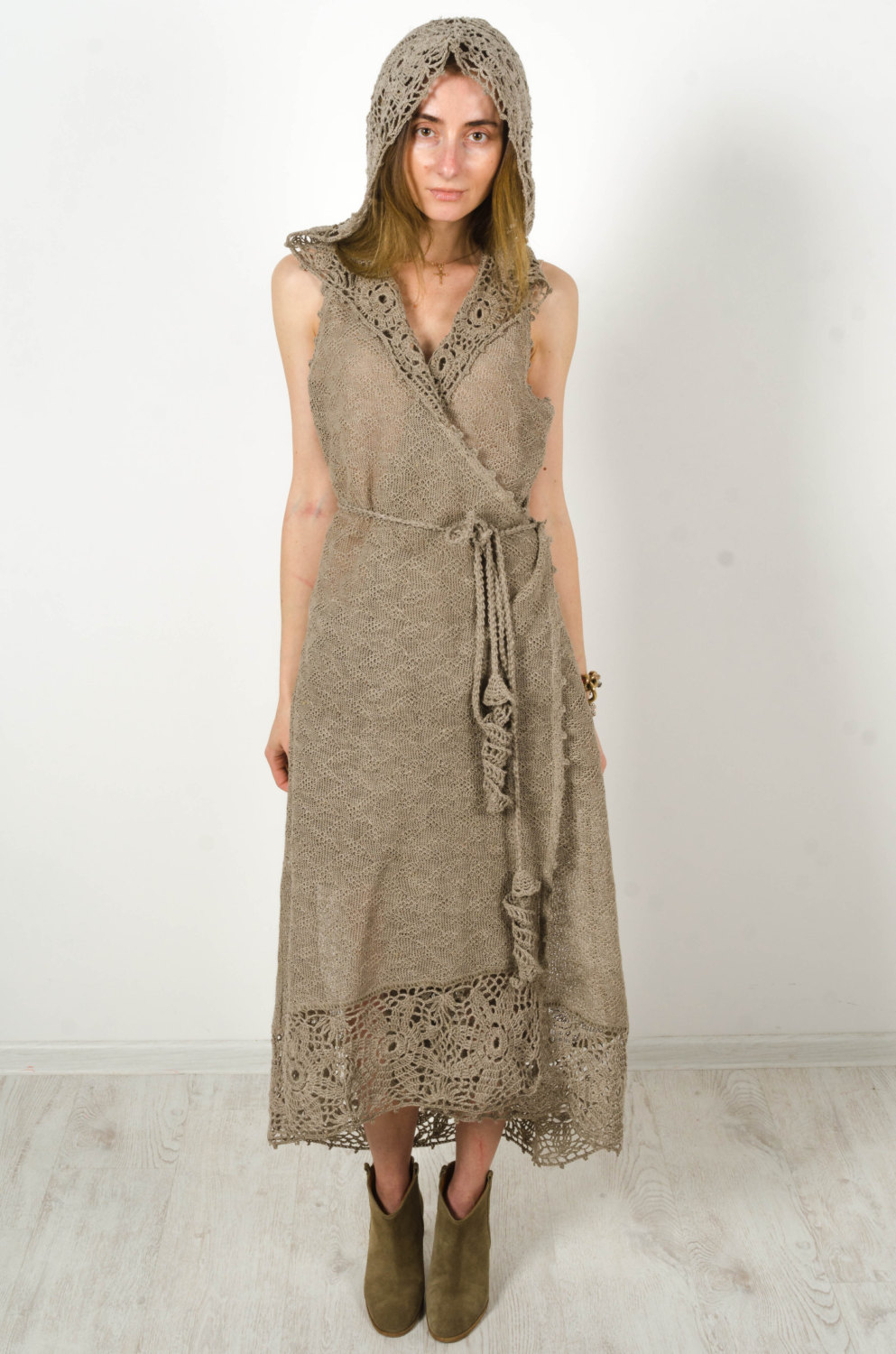 Crochet Maxi Dressgray Linen Hoodie Dress Long Biggin Cardigan Maxi