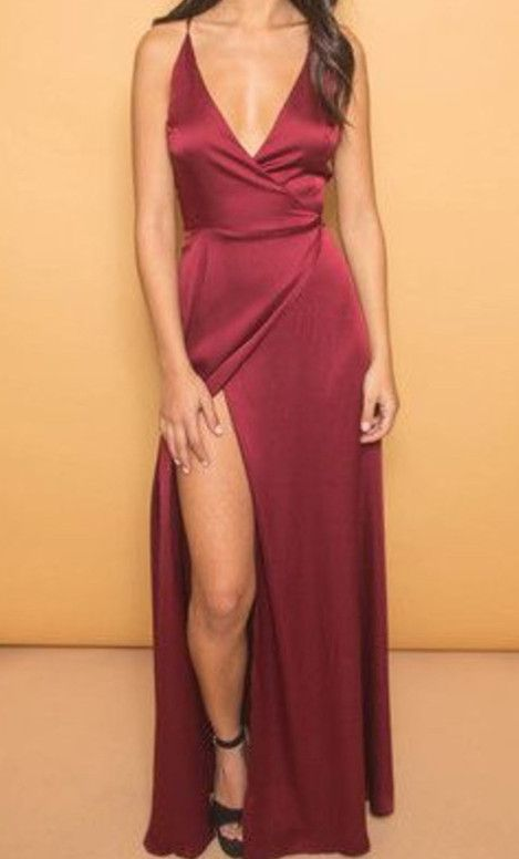 598aae67e1a Simple wine red prom dress