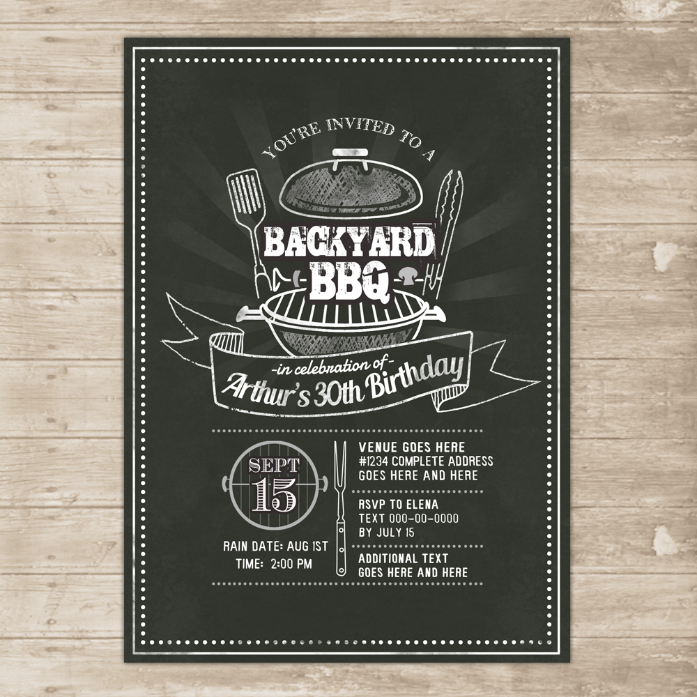 Backyard Bbq Invitation Grill Cookout Invite Family Picnic