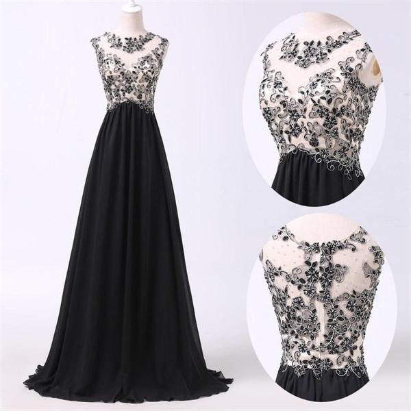 2016 Black Lace Long Chiffon Prom Dresses For Teenssparkly Modest
