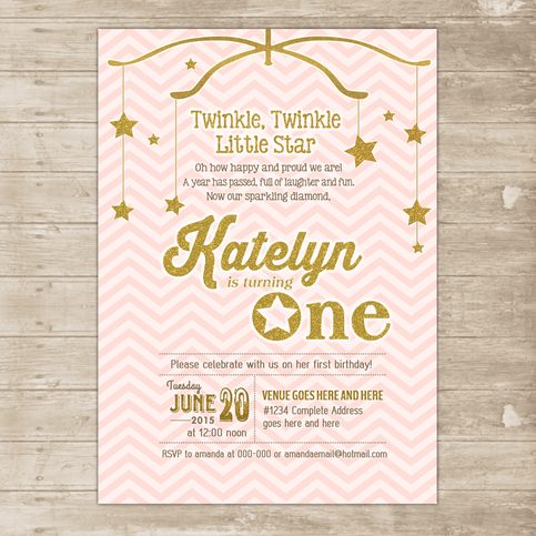 Pink and Gold invitation Twinkle Little Star Invite ONE ...