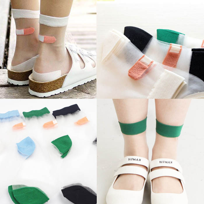 Kawaii Clothing Calcetines Tiritas Band Aid Socks