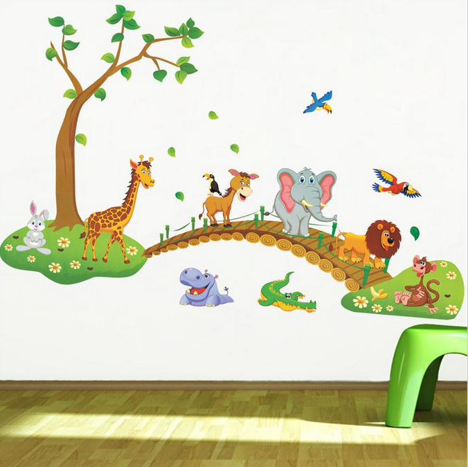 Newest cute cartoon animals tree bridge baby children bedroom room decor  wall stickers removable kids nursery decal sticker sold by TechAccessories