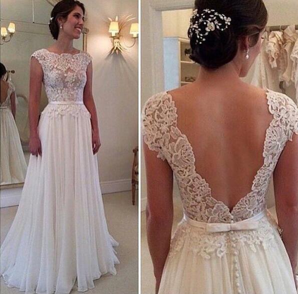 Aolanes Vintage Lace Full Sleeve Backless Lace Wedding Dress 2016 on ...