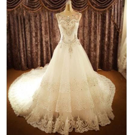 Wedding dresses,bridal gown,lace wedding dresses,rhinestone bridal ...