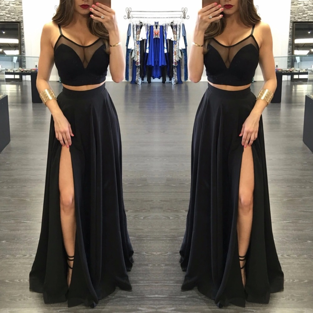 Simple Wedding Dress Hong Kong: Custom Made Two Pieces Black Long Prom
