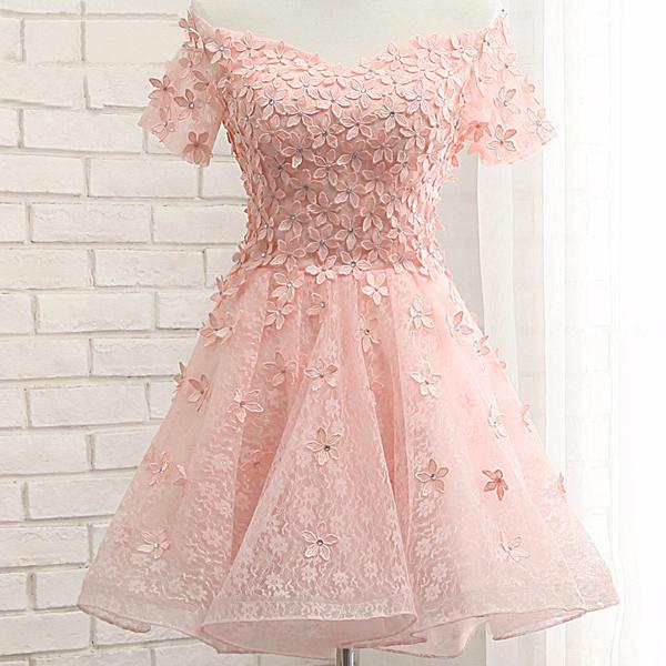 short pink prom dress ,short sleeves homecoming dress ,junior lovely ...