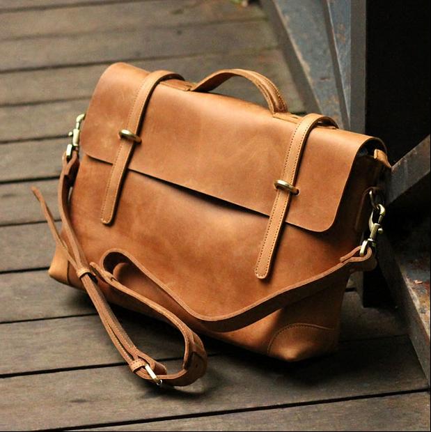 Handmade Vintage Leather Briefcase / Leather Messenger Bag / 13
